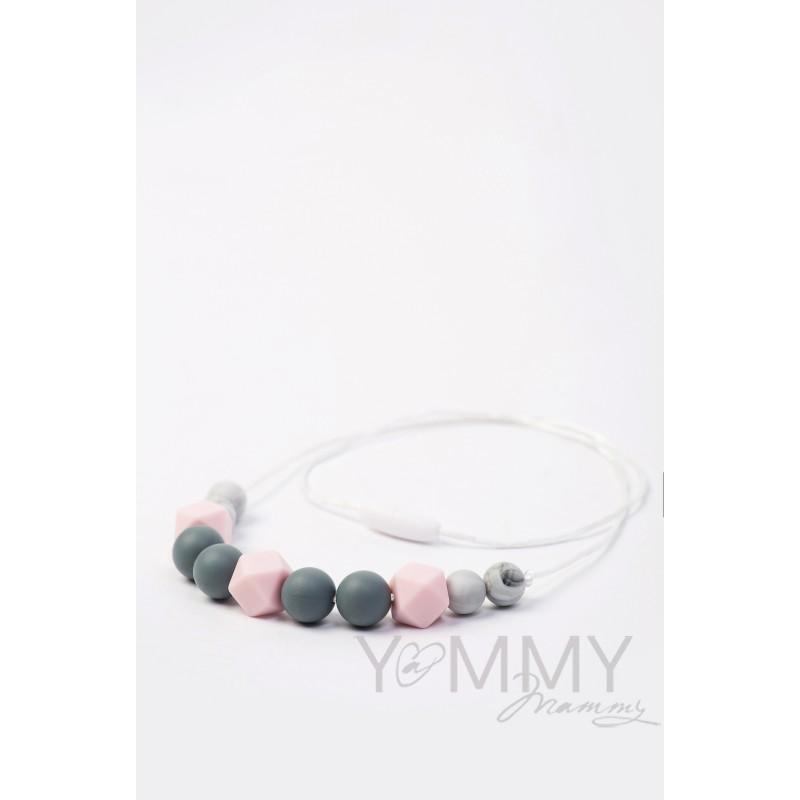 Бусы силиконовые розовый/мраморный/серый