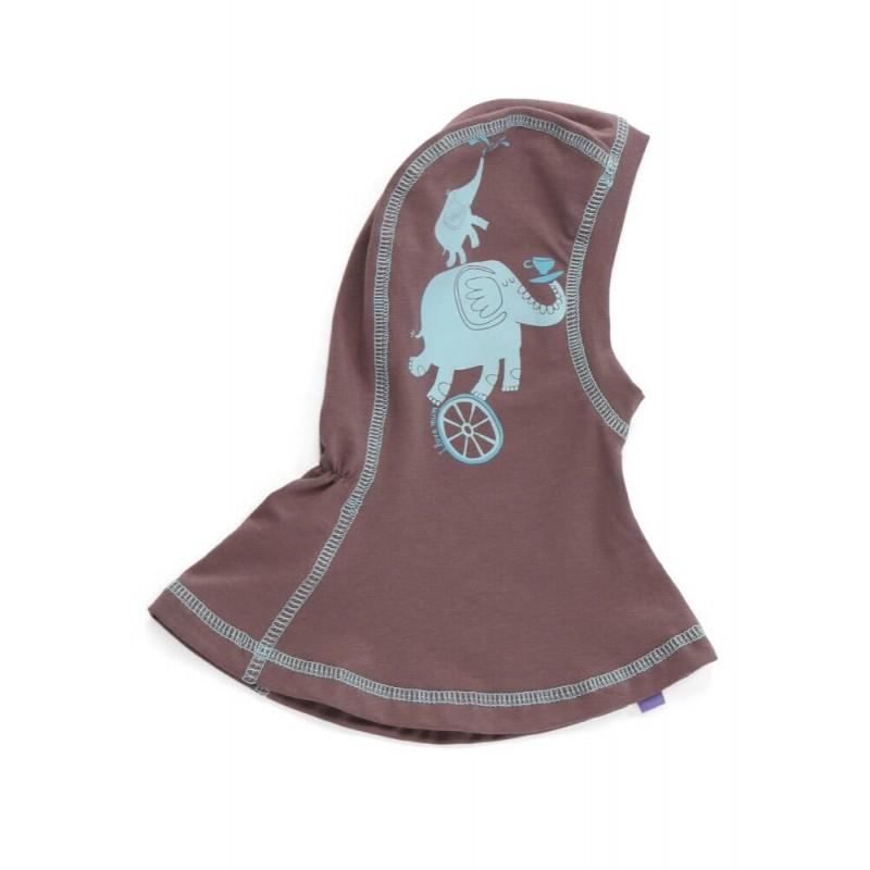 Шапка-шлем бежевая со слониками, 0-1 г.