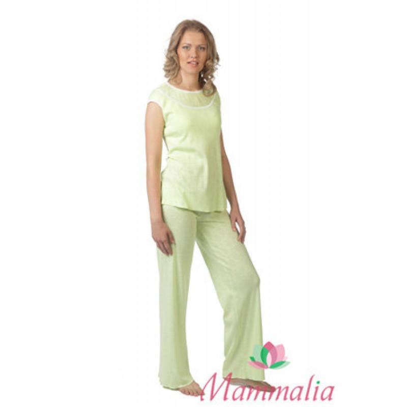 Домашний комплект Туника+брюки Mammalia салатовый