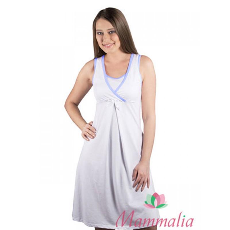 Сорочка для роддома  белый/голубой