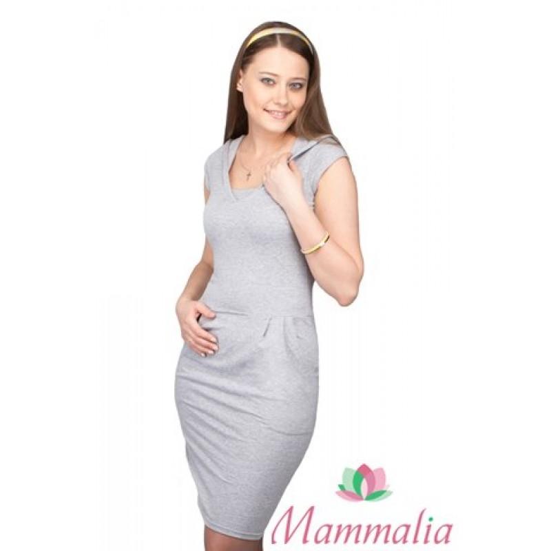 Платье Mammalia с капюшоном серый меланж