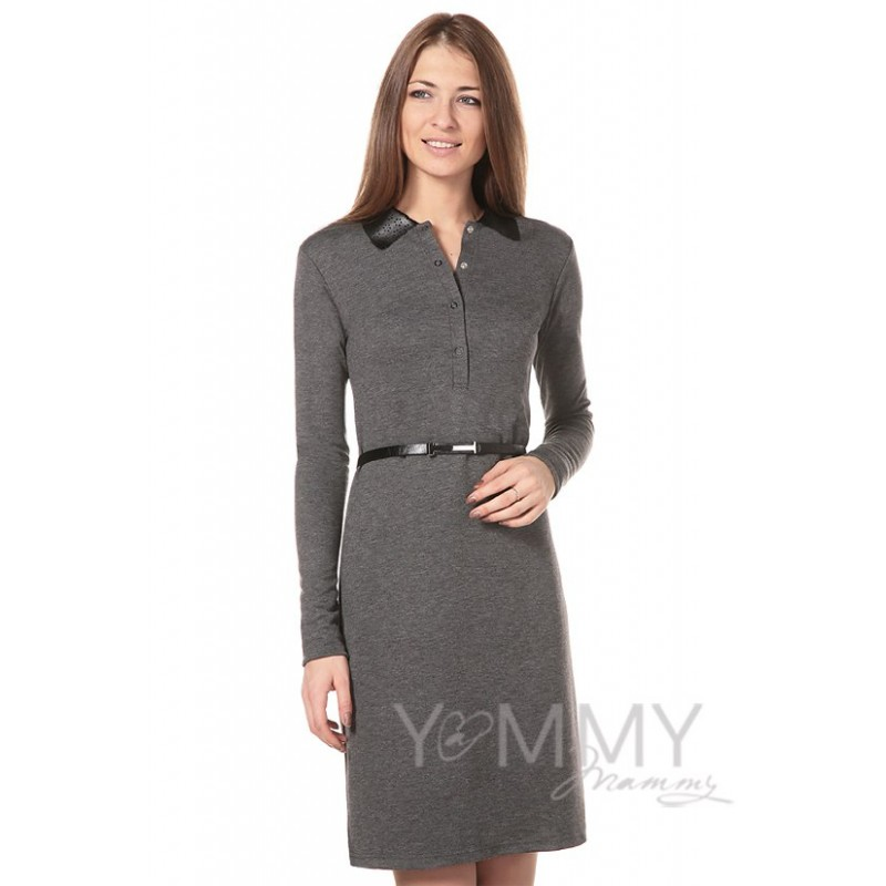Платье Yammy Mammy темно-серое с кожаным воротником