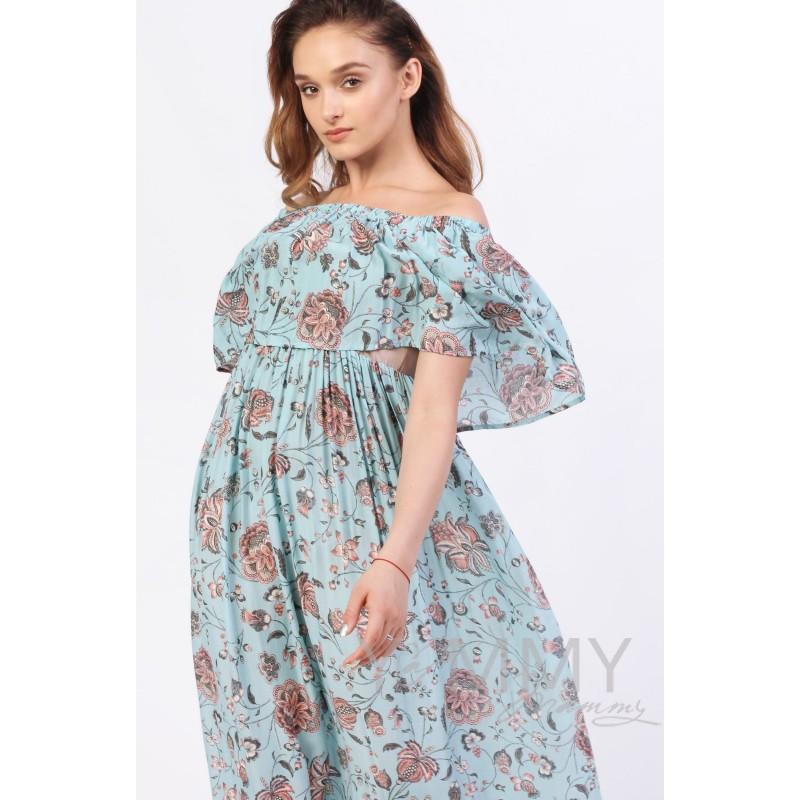 Платье-сарафан с оборкой по плечам голубое